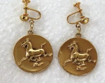 Han Dynasty Flying Horse Earrings, Flying Horse of Gansu (Hansu), Alva Museum Reproduction Earrings 1974, Horse Earrings for Unpierced Ears
