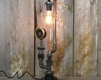 Industrial Table Lamp with a Steel Cage Shade - Steampunk Desk Lamp #65