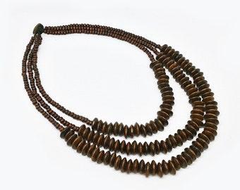 Wood Bead Necklace, Wooden Bead Necklace, Wooden Jewelry, Wood Bead Jewelry