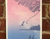 Rope Swing Letterpress Print