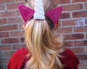 Unicorn Horn & Ears Bun Pal / Pony Tail Pal - Hair Accessory - Hair Clip - Barrette - Fascinator  Hair Slide  Hair Grips - Fantasy - Cosplay
