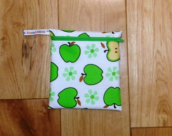 Snack Bag - Bikini Bag - Lunch Bag - Make Up Bag Small Poppins Waterproof Lined Zip Pouch - Sandwich bag  Eco - Green Apple Fabric