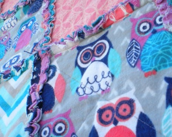 Night Owl Quilt, Throw Rag Quilt, Lap Blanket, Flannel Rag Quilt, Owl, Blue, Coral, Purple, Baby Shower Gift, Girl Quilt, Ready to Ship