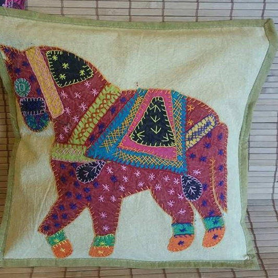 Horse print cushion covers, ethnic pillow, decorative pillow, boho bedroom decor, Bohemian decoration, Stone wash cotton, Patch work