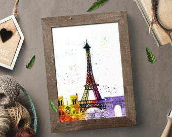 Watercolour, Eiffel Tower, Paris France, Printable Art, Home Decor, Wall Decor, Gift for her