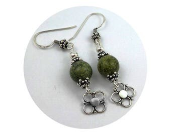 Silver earrings solid green Serpentine beads ethnic chic