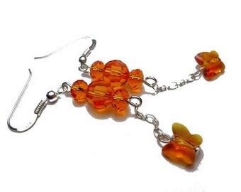 Earrings silver orange Butterfly Swarovski Crystal pearls romantic