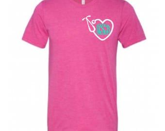 Nurse Gift, Soft Shirt, Nurse shirt, monogram tshirt, personalized nurse shirt, monogrammed shirt, monogram tee, monogram shirts