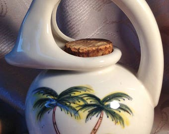 Honey Jug Tropical Palm Trees Hand painted Vintage Ceramic Syrup Pitcher
