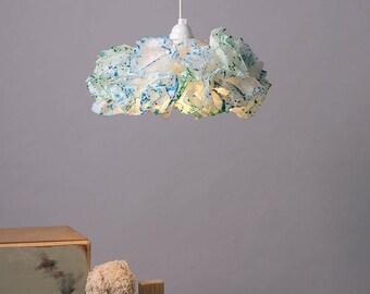 Blue & Green Paper Lamp, Nursery room light, Pendant Light, Nursery room Decor, Hanging Lamp