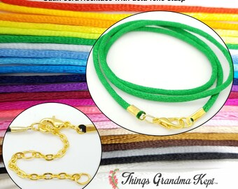 Satin Cord Necklace With Gold Tone Clasp, 25 Colors! Your Choice of Lengths