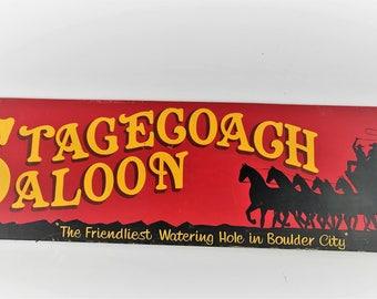 """L@@K! 1967 7"""" Original Wooden Boulder City Stagecoach Saloon Vintage Sign Las Vegas"""