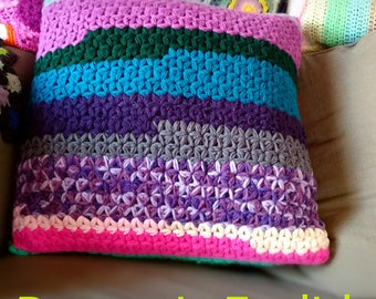 Pillow cover crochet PATTERN jasmine star stitch, cushion case tutorial pdf file instant download, detailed text with pictures, how to, diy
