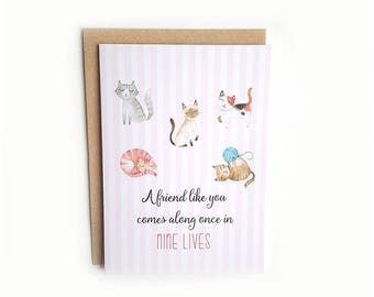 Friendship Card // Just Because Card // Greeting Card // Best Friend Card // Funny Card // Cats