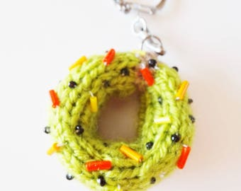 Key ring / jewelry bag in the shape of donuts green / cake