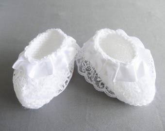 shoes for baptism or wedding ceremony - white slippers - births.