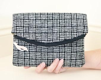 Harris Tweed Clutch Bag / Ladies Clutch Bag / Fold over bag / Black Clutch Bag / Tweed Purse