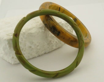2 Vintage Bakelite Bangles, 1 Carved Speckled Green & Marbleized Saffron Color w/ Black.
