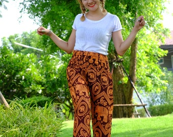 Hippie pants harem pants elephant pants cozy pants boho pants Orange