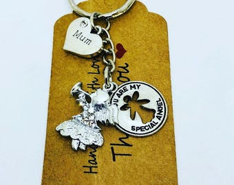 Angel Gabriel Keyring, mum, lucky charm, bag charm, keepsake, gift, safety, Talisman, mother's day gift