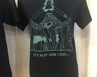"Pin Up Hiding Pit Bull Greyhound T-Shirt By Maria B. Hand Drawn Screen Print ""Let's Play Hide & Seek"" Dog Rescue T-Shirt."