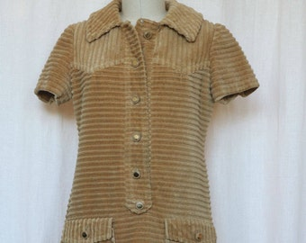 Vintage 70s Corduroy Dress, Sheath Dress, Mini Dress, Mod Dress, Size Medium