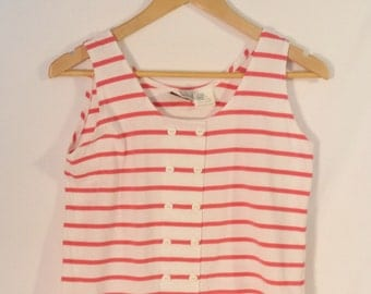 80s striped tank top// Cute white pink buttons// Vintage Ricki and Company// Women's size S M small medium