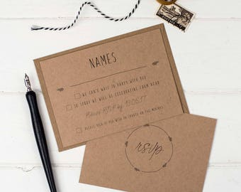 Rustic Wedding RSVP -  Kraft Wedding RSVP - Wedding Stationery - Invitation Suite - Rustic Wedding