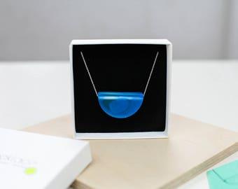 Matte blue minimalist half circle necklace, resin pendant, sterling silver chain, minimalist necklace, bauhaus style