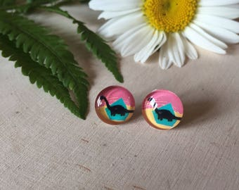 quirky dinosaur stud earrings, gift for your prehistoric loving friend