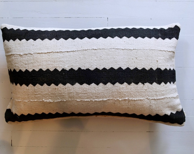 """Vintage African Mud Cloth lumbar throw pillow 12"""" x 20"""""""