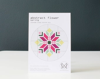 Abstract Flower_Spring - Modern DIY Cross Stitch Kit, Beginners Cross Stitch Kit