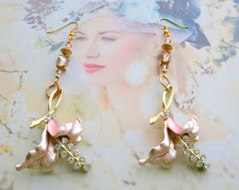 Flower earring pink ART NOUVEAU wedding or anniversary