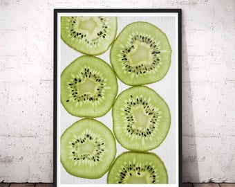 Kiwi Print, Kiwi Fruit, Kitchen Decor, Tropical Print, Printable Wall Art, Abstract Art, Tropical Fruit, Digital Poster Instant Download