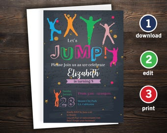 Jump invitation, Jump Birthday invitation, Jump party invite, Printable Self Editable