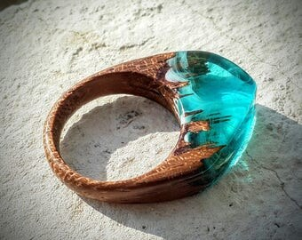 Size 10  Wood Resin Ring - Aqua Blue