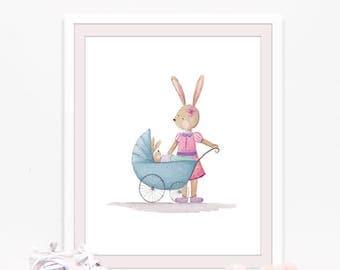 Bunny print, Baby room wall art, nursery prints, Watercolor bunny wall art, Rabbit print, Whimsical nursery art