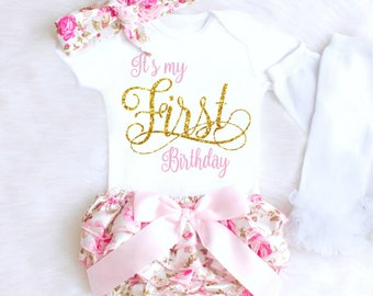 Baby Girl 1st Birthday Outfit Bloomer Birthday Outfit Chic First Birthday Outfit Floral Birthday Outfit My 1st Birthday Outfit ANY AGE BA1