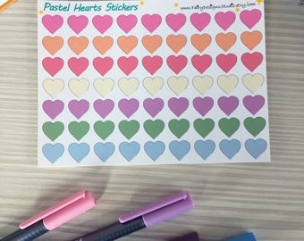 Pastel Hearts Planner Stickers