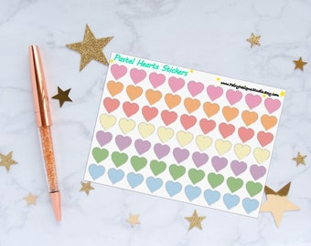 Pastel Hearts Planner Stickers, Heart Stickers, Decorative Stickers, Vinyl Stickers