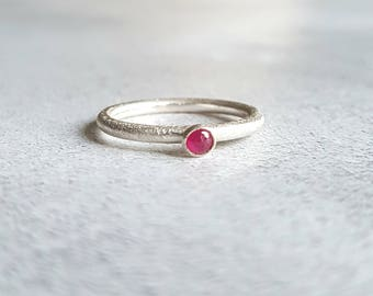 Ruby Ring - Ruby Cabochon Ring - Ruby Stacking Ring - Stacking Ring - Ring Stack - Cabochon Ring - Cabochon Jewelry - Cabochon - Ring