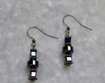 Metal Earrings, Pendant Earrings, Gunmetal Earrings, Drop Earrings, Dangle Earrings, Gunmetal Jewelry, Opalescent Earrings, Edgy Earrings