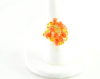Pink Coral Fashion Ring Size 9 Gilt over Sterling
