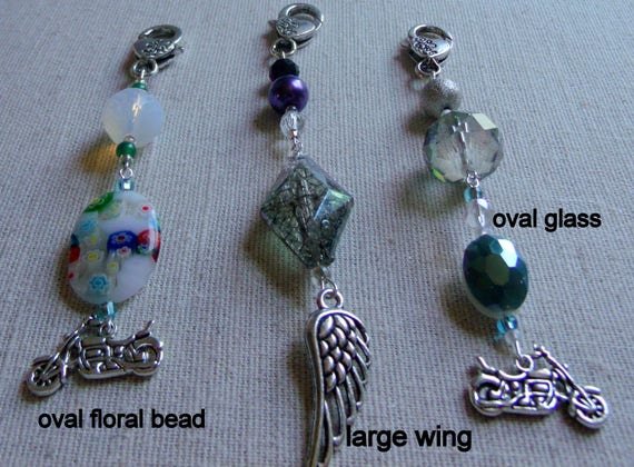 Angel wing motorcycle biker zipper pulls - journal - purse - tote charms - acrylic rose bead - crystal  road clip on - LizPoriginals