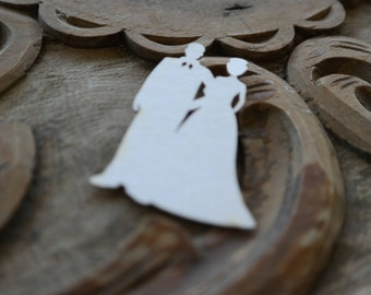 Laser Cut Embellishments, Wedding Invitations Supplies, Wedding Couple Chipboard Die Cut, Groom and Bride Die Cut