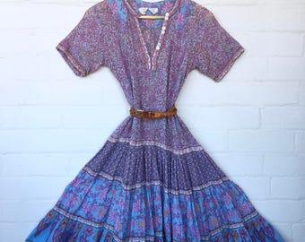 Vintage 70's Indian Cotton Gauze Dress//Ethnic Floral Hippie Bohemian Festival Tent Midi DRESS