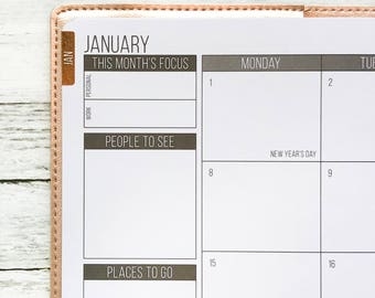 Foiled Flush Monthly Tabs | Passion Planner Stickers for the Classic and Compact Size