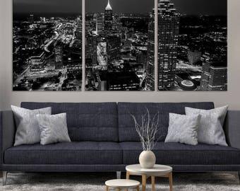 ATLANTA Canvas Wall Art Print - Atlanta Skyscrapers Landscape at Night Cityscape Art - Canvas Print City Skyline Landscape  Stretched Canvas