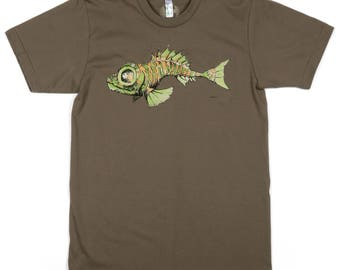 Scary Fish: ORGANIC Cotton American Apparel Mens Tee