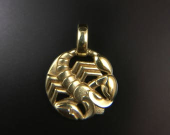 14K yellow gold horoscope scorpio scorpion pendant